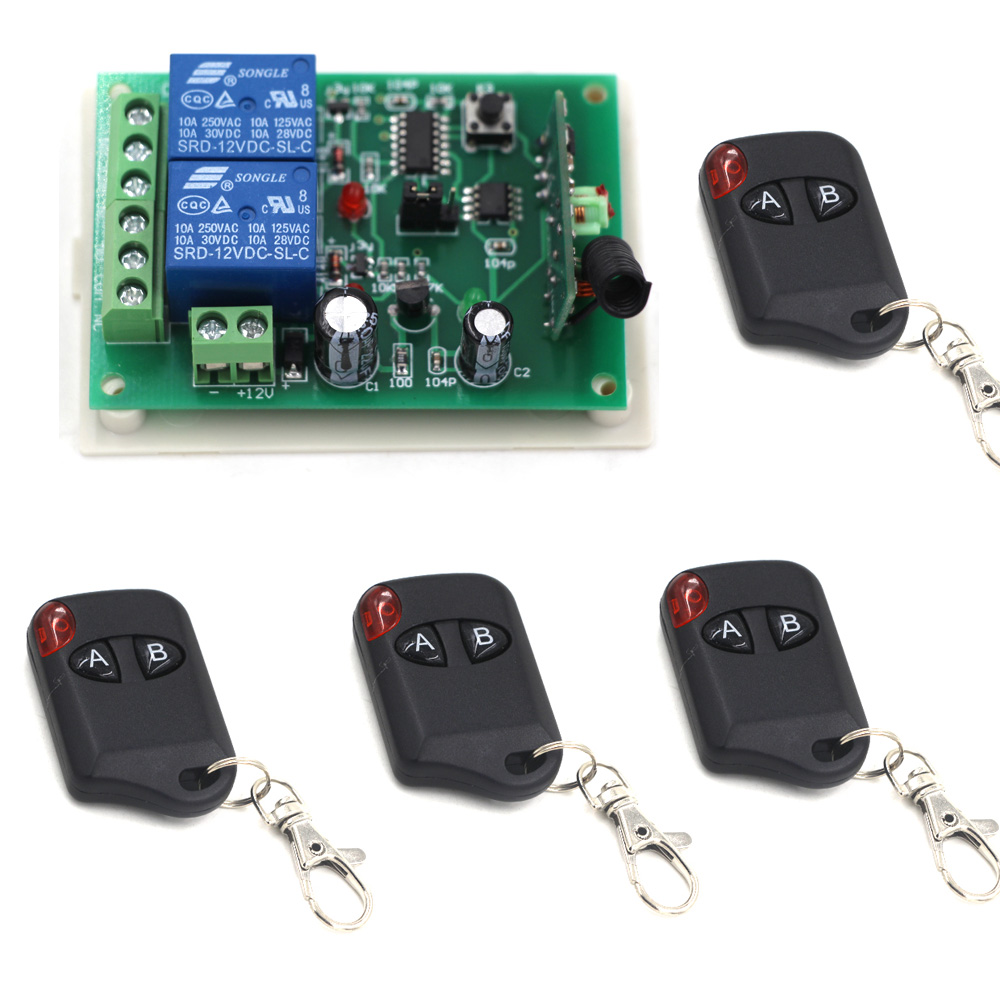 Latest DC12V 24V 2CH Wireless RF Remote Control Switch 4pcs Cat Eye Transmitter and 1pcs Receiver for Wireless System 315/433MHZ 433mhz dc12v 8ch channel wireless rf remote control switch transmitter receiver
