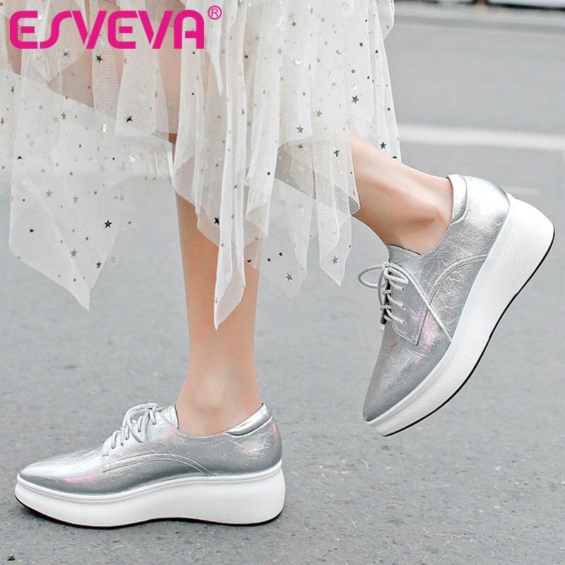 Ayakk.'ten Kadın Pompaları'de ESVEVA 2019 Kadın Ayakkabı Platformu Yeni Inek Patent Deri PU Tüm Maç Dantel Up Takozlar Topuk İlkbahar/sonbahar Kadınlar için pompaları Boyutu 34 42'da  Grup 1