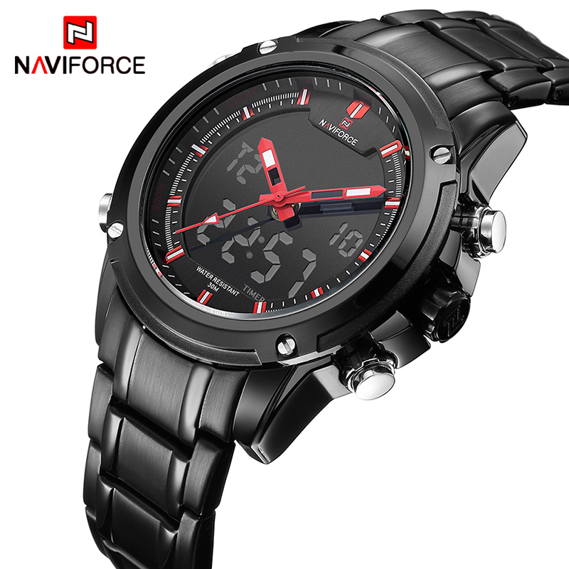 NAVIFORCE TOP Luxury Brand Male Sports Army Military Watches Mens Quartz Analog Steel Strap LCD Clock Male Waterproof WatchNAVIFORCE TOP Luxury Brand Male Sports Army Military Watches Mens Quartz Analog Steel Strap LCD Clock Male Waterproof Watch