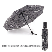 Fully-automatic Umbrella Creative Black&White Newspaper Mans British Style Windproof Parapluie Rain Gear