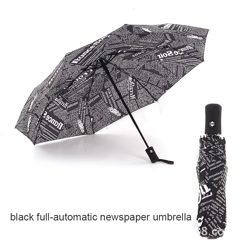 Fully automatic Umbrella Creative Black&White Newspaper Man's Umbrella British Style Windproof Parapluie Rain Gear Umbrella
