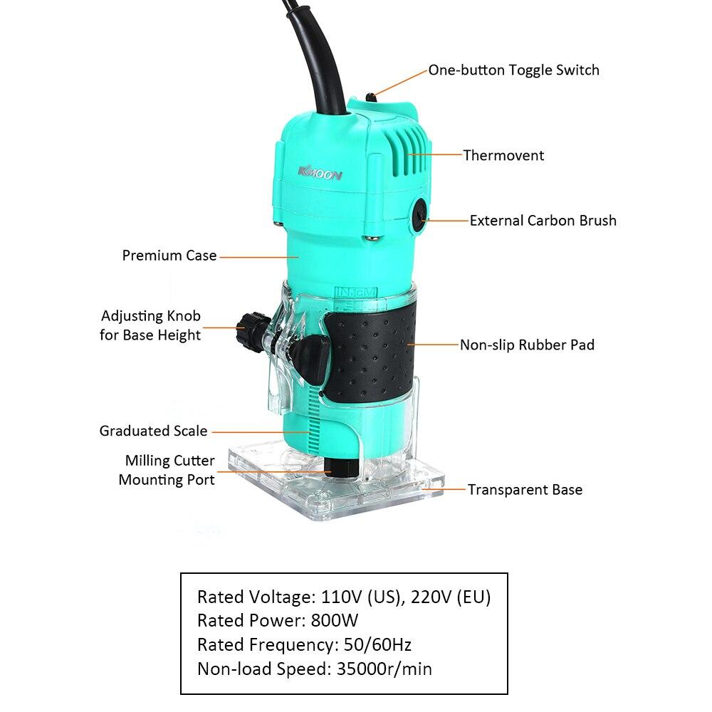 800W 35000RMP 6.35mm bleu électrique main bois tondeuse bois stratifié routeur menuisiers sculpture Machine bois routeur - 4