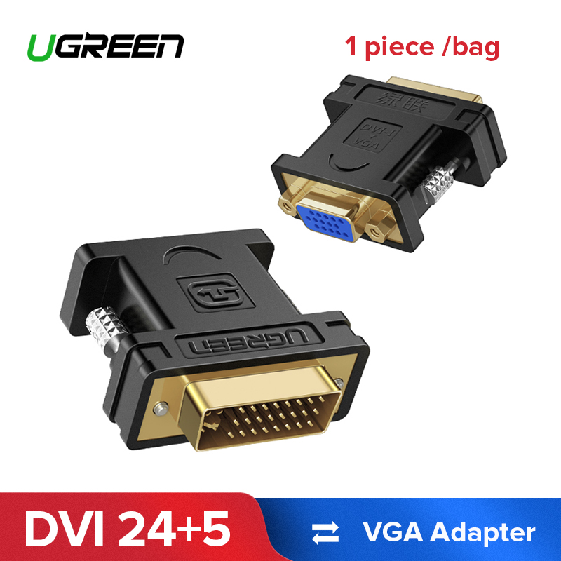 Ugreen 1080P DVI 24+5 Male to VGA Female Converter DVI i to VGA adapter Gold plated DVI Convertor for Computer PC Host Laptop felkin dvi to vga adapter converter dvi 24 5 pin male to vga female 1080p video converter for hdtv monitor computer pc laptop