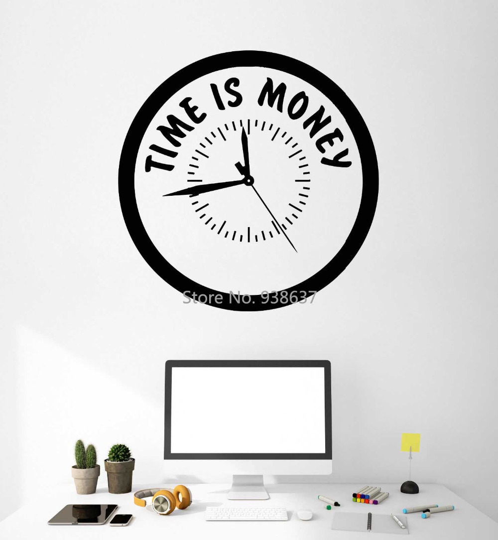 Office Quote Vinyl Wall Stickers Time is Money Clock
