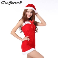 New Red Sexy Santa Claus Bow Christmas Party Costume Clothing Female Outfit Fancy Dresses Hat Game