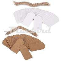 New 100pcs Brown Kraft Paper Hang Tags Wedding Party Favor Punch Label Price Gift Cards Free