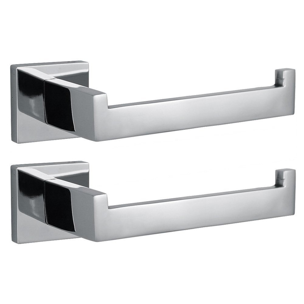 Modern Chrome Toilet Paper Holder Wall Mount 2 Pack Polished