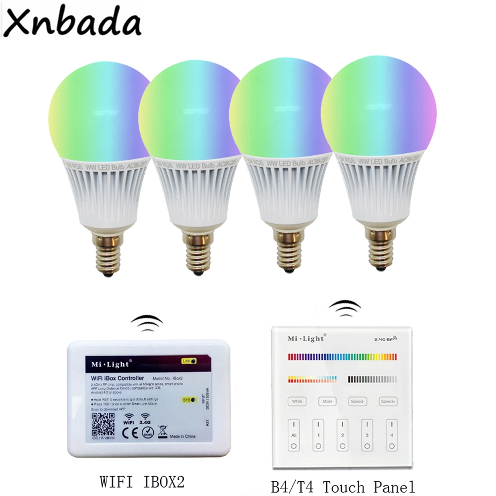Milight Led Bulb E14 5W RGB+CCT Led Lamp,2.4G IOS Andriod APP WiFi IBox Led Controller,B4/T4 4-Zone RGBW+CCT Smart Panel Remote new dc5v wifi ibox2 mi light wireless controller compatible with ios andriod system wireless app control for cw ww rgb bulb