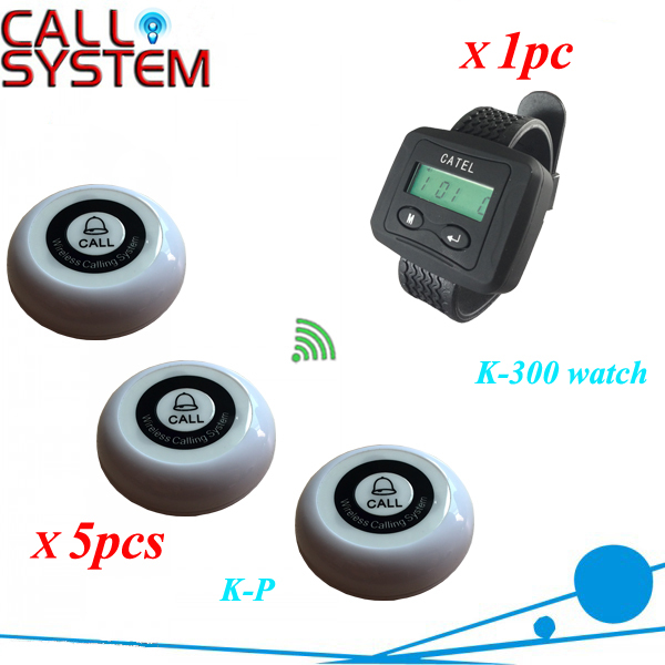 Vibrating watch pager system 1 wrist receiver with 5 bell buzzer for restaurant beach cafe use with CE service call bell pager system 4pcs of wrist watch receiver and 20pcs table buzzer button with single key