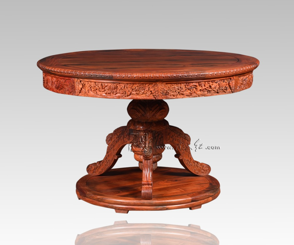 Carved Round Table Rosewood Classic Garden outdoor Desk Solid Wood Living Room Coffee Te ...