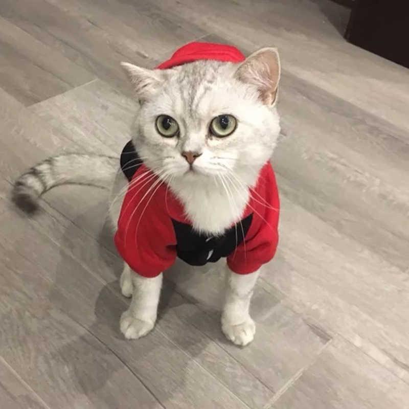 קריקטורה חתול הסווטשרט סוודר חורף חם בגדי חתול מחמד לחתולים קטנים כותנה חתלתול מעיל מעיל חתול תחפושות לחיות מחמד כלב בגדים