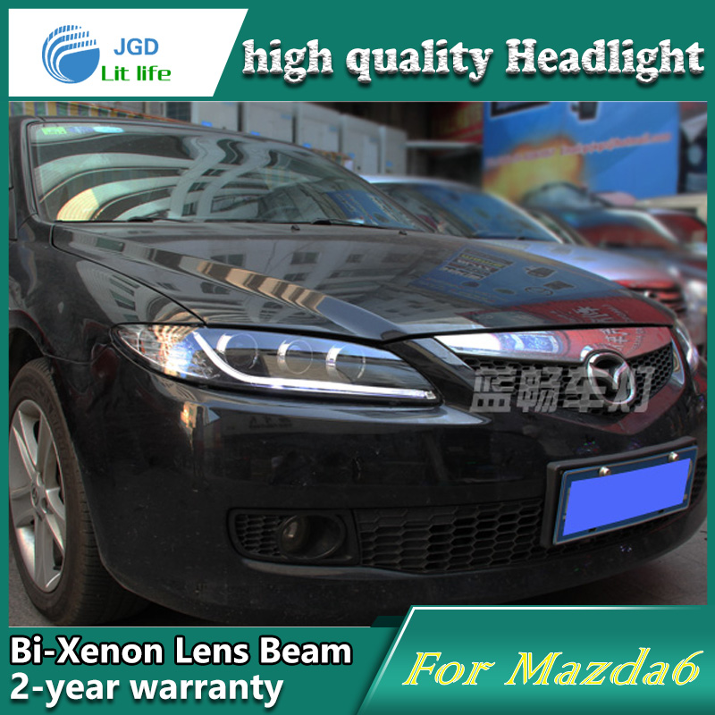 high quality Car Styling for Mazda 6 M6 2003-2013 Headlights LED Headlight DRL Lens Double Beam HID Xenon Car Accessories hireno headlamp for 2013 2015 nissan tiida headlight assembly led drl angel lens double beam hid xenon 2pcs