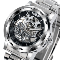 WINNER Roman Numerals Steampunk Skeleton Mechanical Stainless Steel Dress Men Wrist Watch Stylish Classic Sport Women