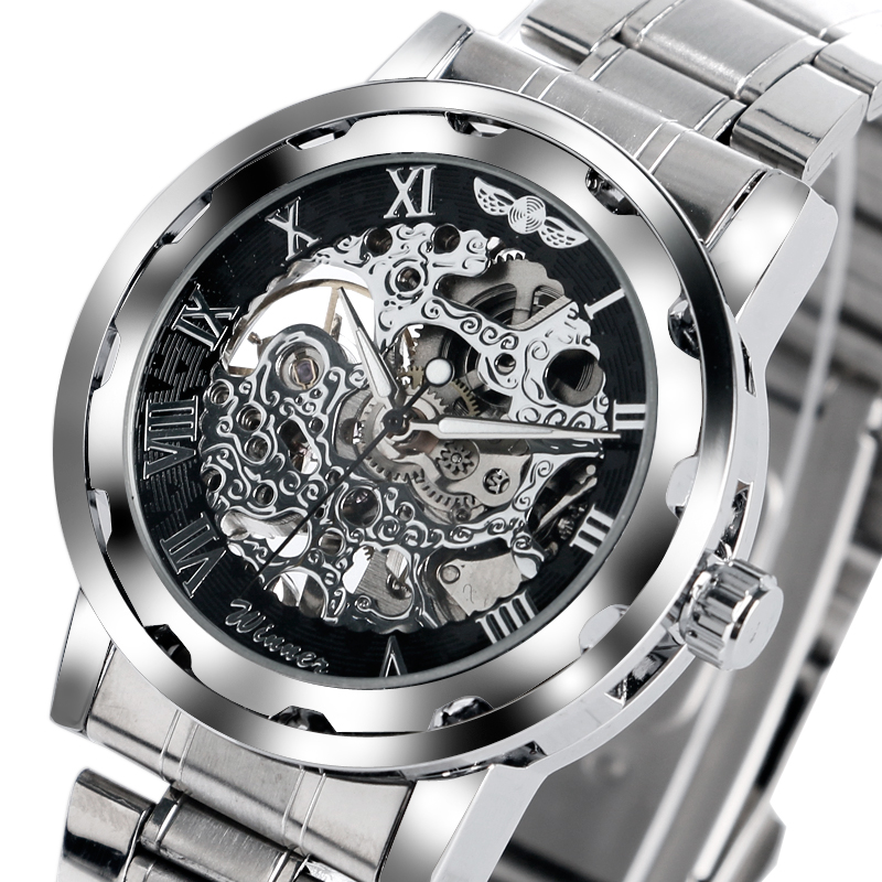 WINNER Roman Numerals Steampunk Skeleton Mechanical Stainless Steel Dress Men Wrist Watch Stylish Classic Sport Women relojes men s skeleton mechanical watch classic transparent steampunk wristwatch stainless steel watch ll
