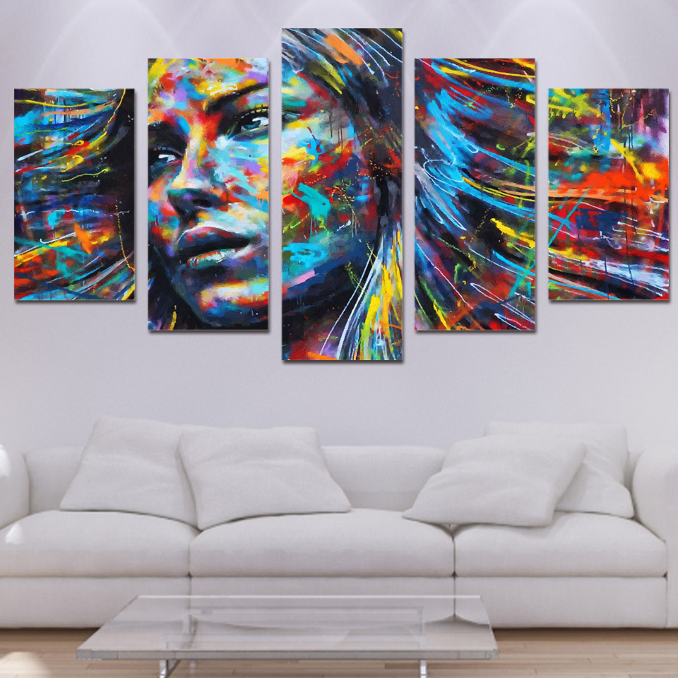 wall art canvas painting 5 piece HD print colorful hair figure woman face posters and prints
