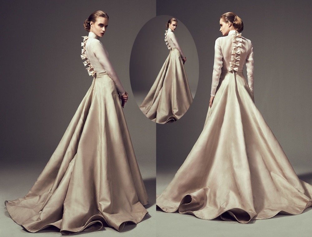 Ashi Studio Saudi Arabia Dress High Neckline Full Sleeve Bow Floor ...