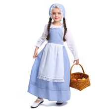 Umorden Child Kids Teen Girls Colonial Pioneer Prairie Costumes Village Rural Farm Girl Dress Halloween Party Mardi Gras Cosplay