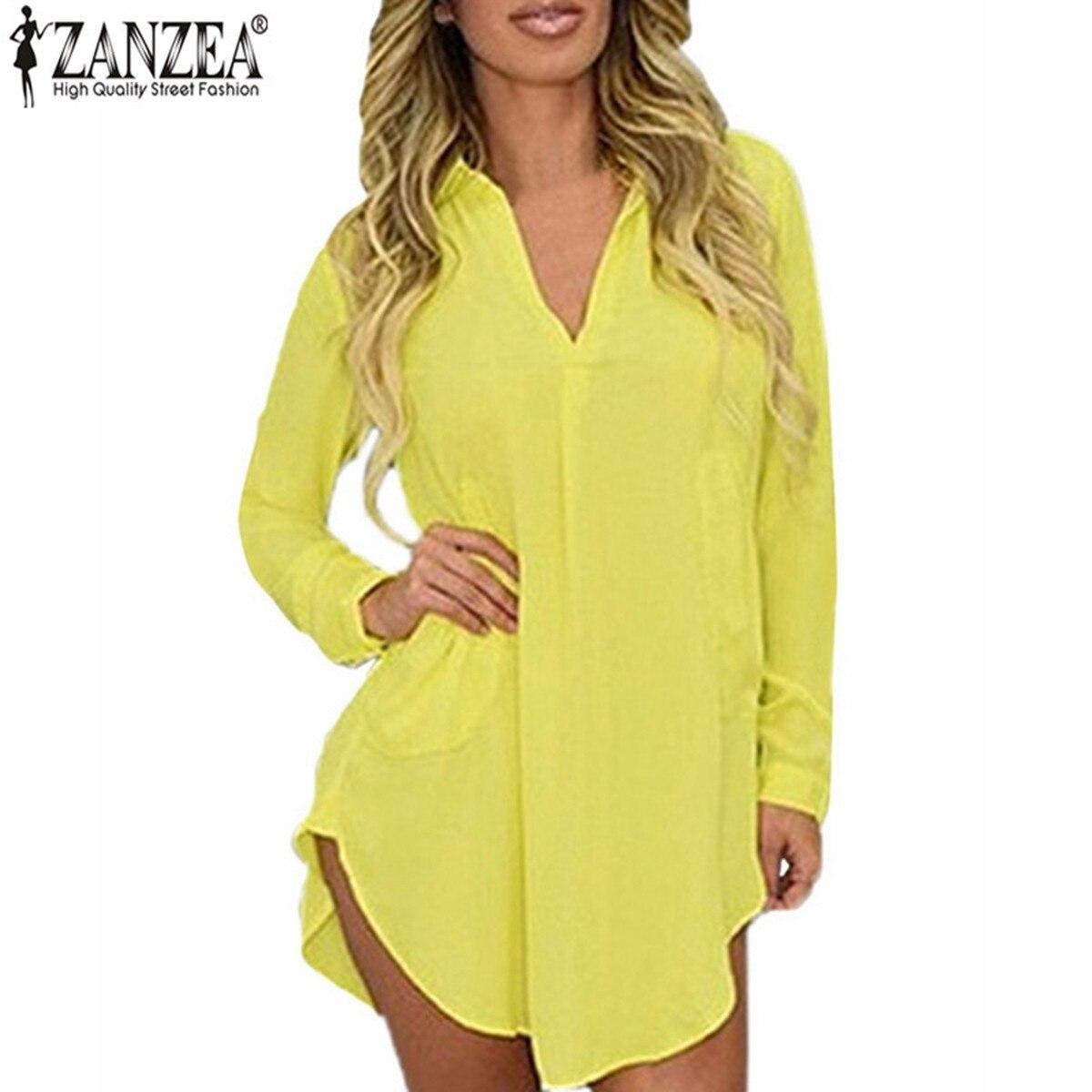Zanzea Women Casual Loose Long Chiffon Shirts 2016 Spring Long