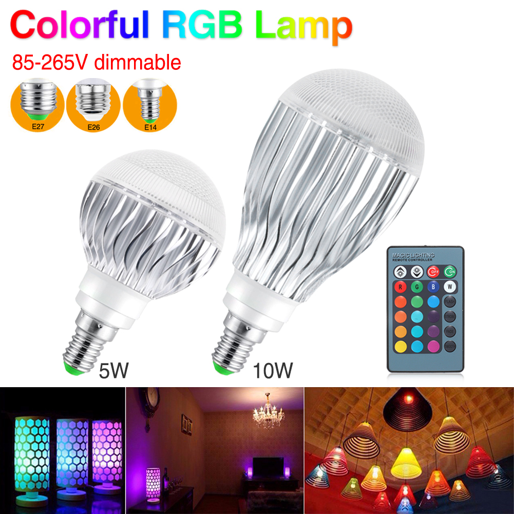 Led Bulbs Rgb Led Bulb E27 E14 16 Color Changing Light Candle Bulb Rgb Led Spotlight Lamp Ac85 265v ثمانية ملايين سعر جيد Led Lampen In Amle