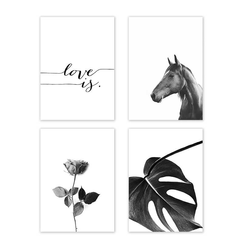 Black and White Horse Flower Wall Art Canvas Poster Print Nordic Style LOVE Simple Painting Wall Picture for Living Room Decor