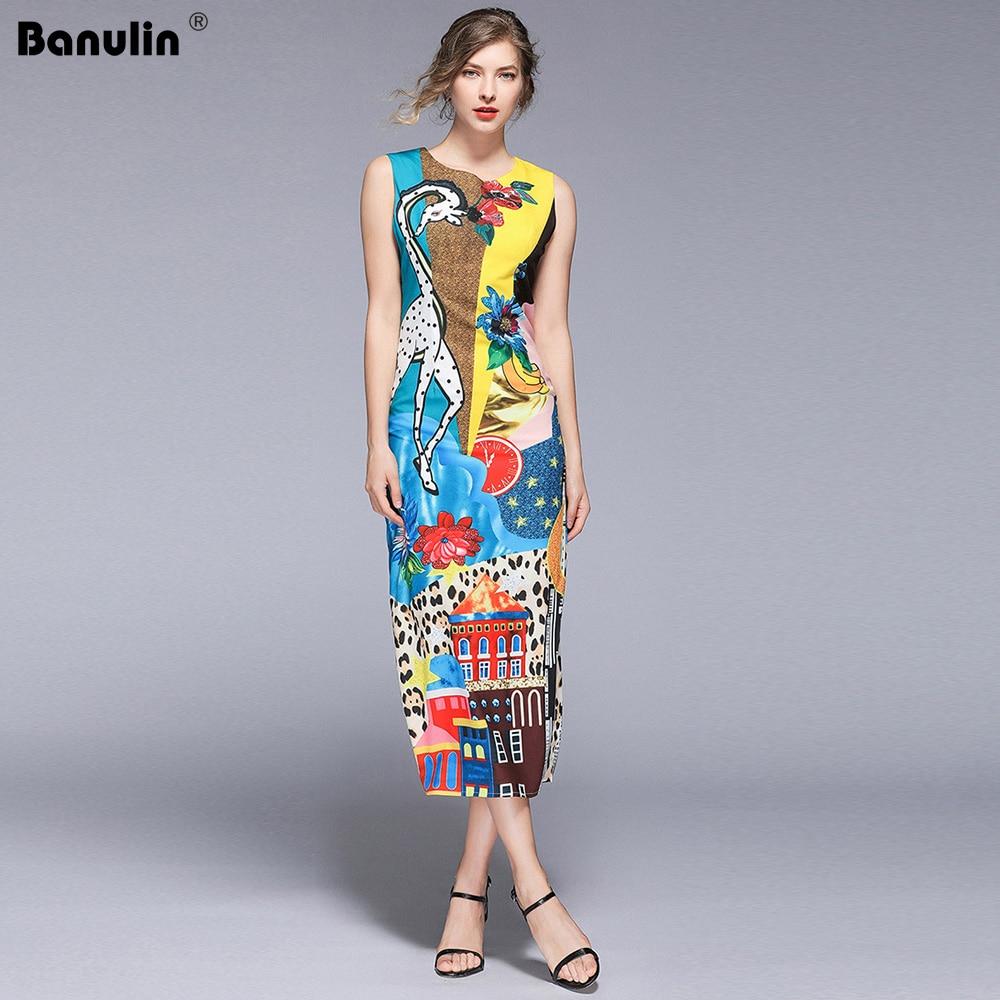 Banulin Runway 2019 Spring & Summer Party Dress Newest Fashion O-Neck Print Giraffe Floral Casual Elegant Long Women B5412