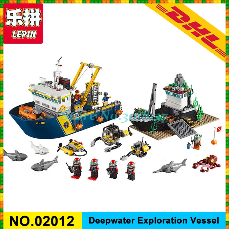 IN Stock DHL 774PCS LEPIN 02012 City Series Deepwater Exploration Vessel Model Building Kits Blocks Bricks Toy 60095 774pcs city deep sea explorers 02012 model exploration vessel building blocks bricks children toys ship kit compatible with lego