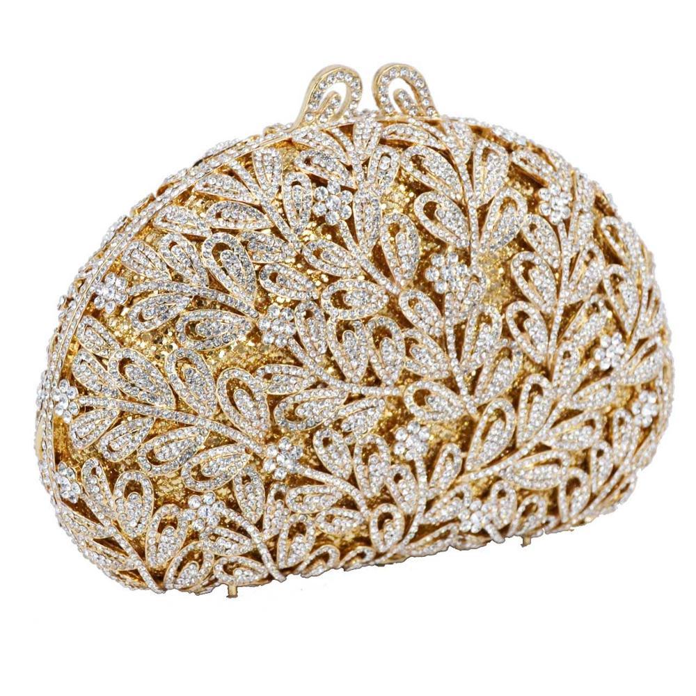 Boutique métal fleur cristal chaîne épaule sac à main doré strass embrayages sacs de soirée petit décontracté pochette sac à main