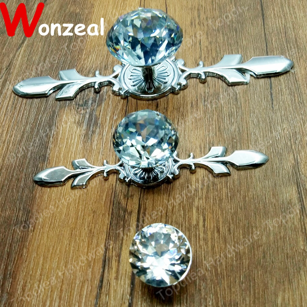 Crystal zinc alloy Clear color single hole furniture handle pull knob for doors cabinets cupboards entrance door handle solid wood pull handles pa 377 l300mm for entry front wooden doors