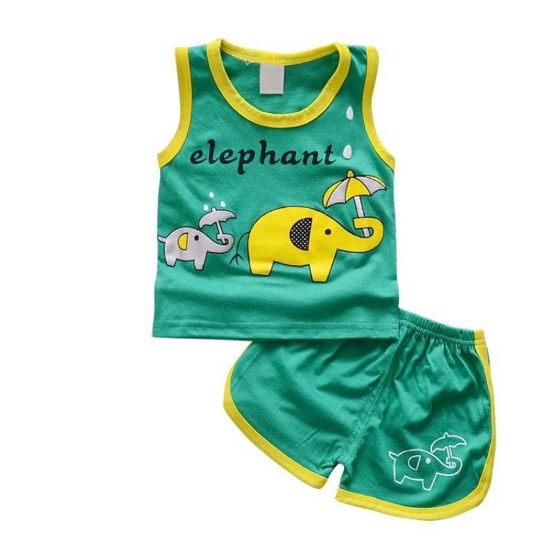 Summer Infant для маленьких мальчиков девочек Повседневное Комплекты одежды футболка жилет топы и шорты брюки 2 шт. дети мультфильм животных милы...