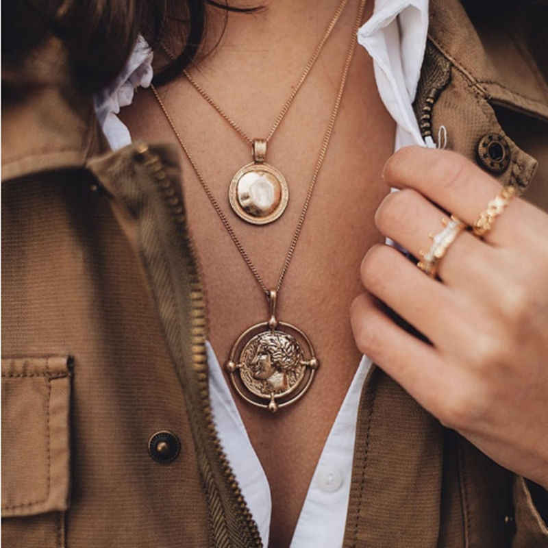 2019 New Fashion Gold Color Multilayer Chain Pendant Necklaces for women Boho Jewelry Metal Discs Jewelry