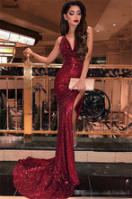 Burgundy V Neck Sequins Mermaid Prom Dress 2019 Sexy High Slits Vestidos De Fiesta Sweep Train Long Party Gowns
