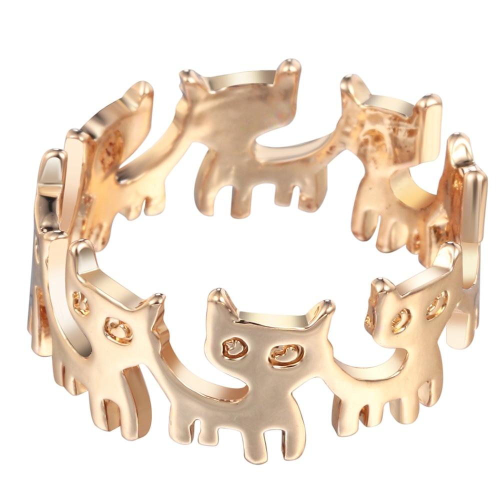 Qiamni Vintage Anel Punk Funny Kitten Cat Animal Band Ring Boho Chic Brass  Wedding Party Jewelry