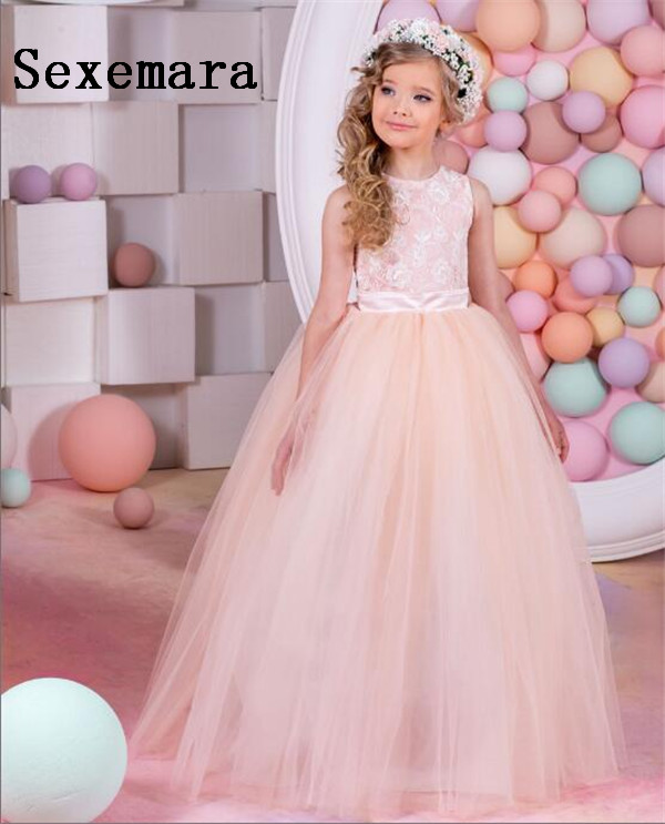Real Image Orange New Lace Flower Girls Dresses Ball Gown Floor Length Girls First Communion Dress Princess Dress 2-16 Old