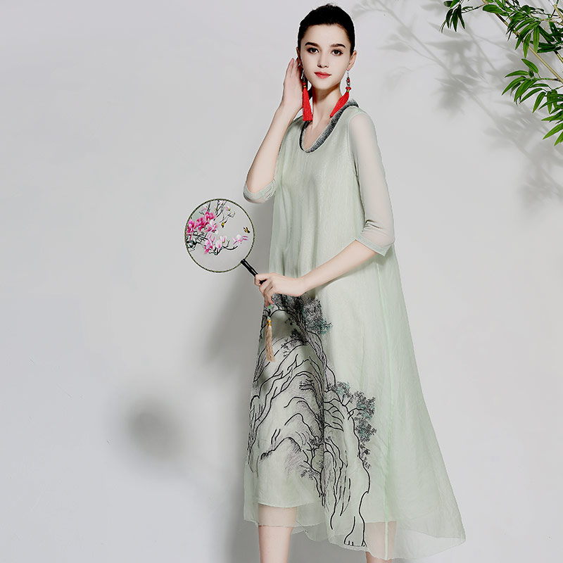 Women beautiful dresses summer vintage royal embroidery floral elegant lady white/green loose organza silk party dress M-XL