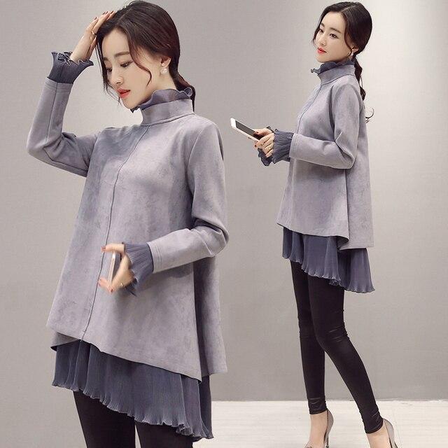 Afeitony одежды для беременной осенние и зимние верхней одежды для  беременных свободные цельнокроеное платье Водолазка для 5ae7d20793f