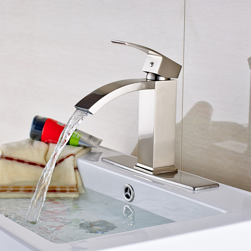 Wholesale and Retail Deck Mounted Bathroom Basin Faucet Nickel Brushed Stainless Steel Mixer Tap цена