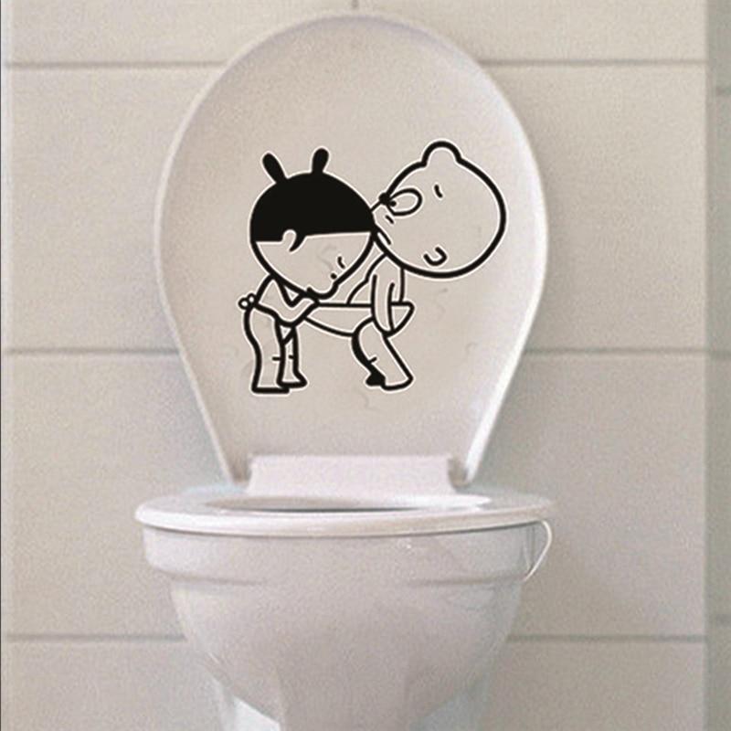 Мультфильм девушка выглядывает Мальчик Ванная комната унитаза наклейки на стены DIY водонепроницаемый стикер росписи декора дома для туале...