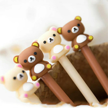 2 Pcs Cute Kawaii Rilakkuma Pen Brown Gel Pen for Writing Korea Stationery Black Refill 0.5mm Kids Novelty Gift School Supplies