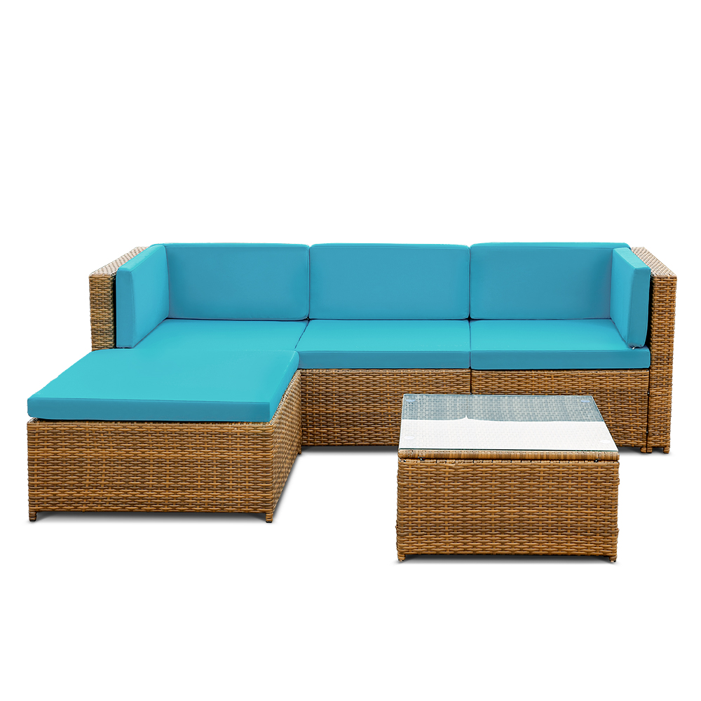 Online Shop IKayaa 5PCS PE Rattan Wicker Patio Garden Furniture Sofa Set  With Cushions Outdoor Corner Sectional Couch Set US FR DE Stock |  Aliexpress Mobile