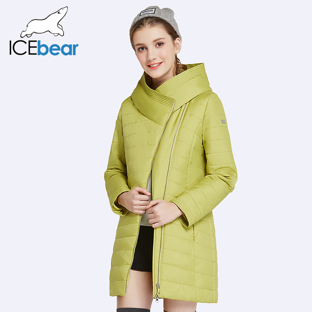 ICEbear 2017 New Spring Collection Autumn Oblique Placket Design Jacket Long Women's Coats With Hood