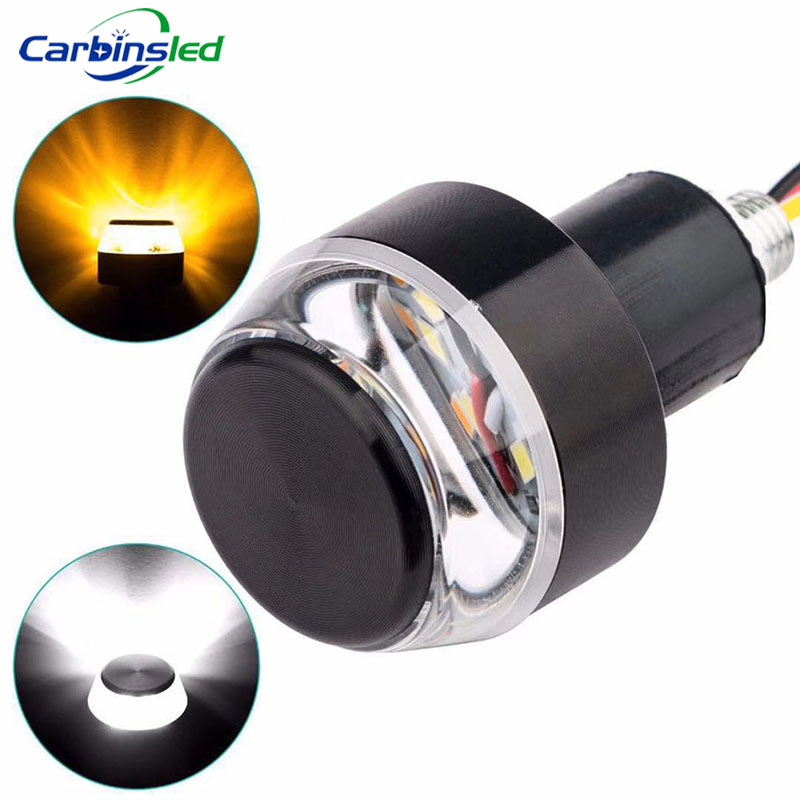 CARBINSLED 1x LED Motorcycle Handlebar End Turn Signal Light Yellow Red Green Universal 22mm Handle Bar Blinker Side Marker Lamp