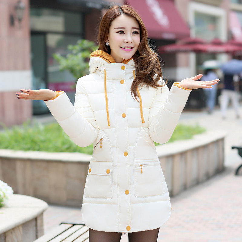 ФОТО 2016 Younger Crowd Winter Jacket Women Beige White Cotton Coat Plus Size Clothing Hooded 2016 New Slim Casual Parka
