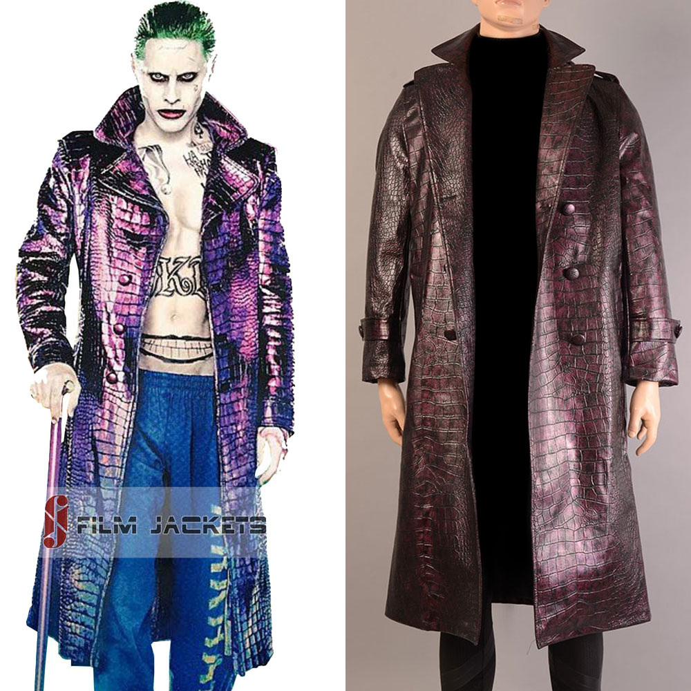 Jared leto joker cosplay purple batman coat suicide squad halloween for men jacket Only harley quinn costumes adults mens trench