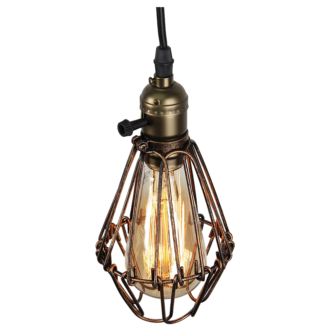 Us 14 17 modern vintage industrial opening and closing birdcage loft metal fixture brown rustic pendant light fittingsbronze 1 pendan in pendant
