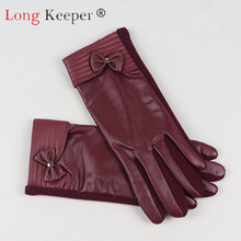 Long Keeper Woman Touch Screen Gloves Mitten PU Leather Glove Female Waterproof Plus Velvet Thick Warm Autumn Winter Fashion New
