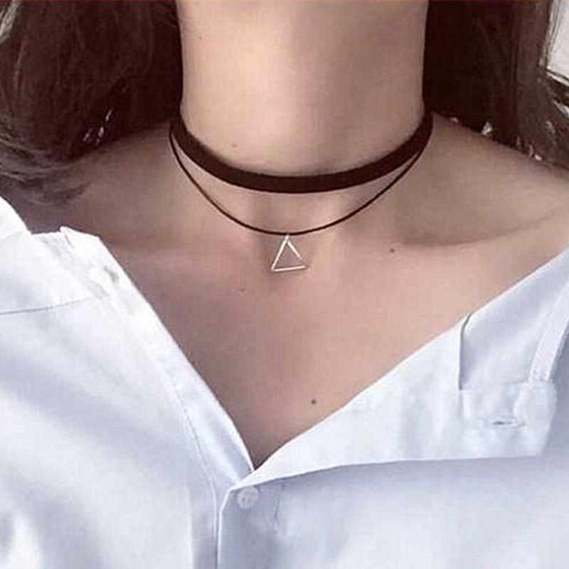 N757 wielowarstwowe Chokers naszyjniki dla kobiet trójkąt geometryczny naszyjnik Collares biżuteria Bijoux Colar 2018