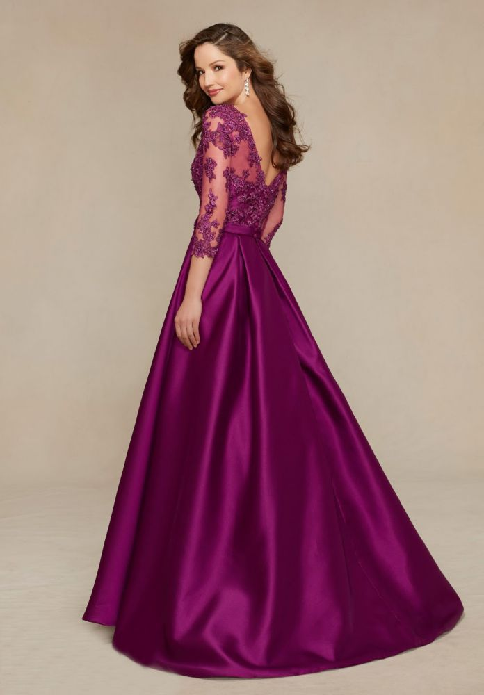 V-Neck Three Quarter Elegant A-Line Purple Long Mother of the Bride Dress 2