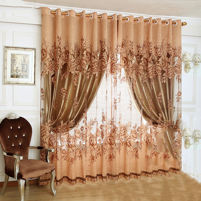 US $10.01 40% OFF|European luxury design purple coffee curtain kitchen 3d  curtains multicolored nice curtain for living room curtain fabrics-in ...