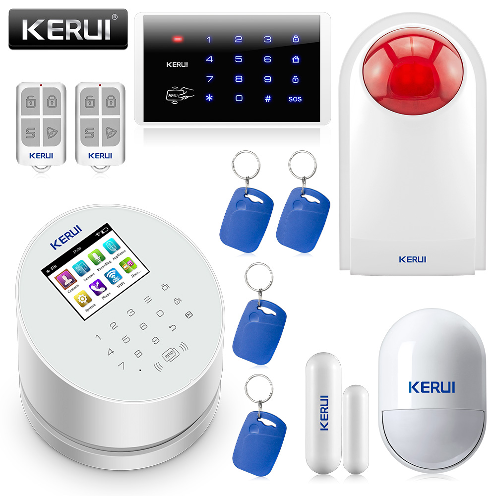 KERUI W2 2.4 inch WIFI GSM PSTN Alarm Smart Home Security Burglar Alarm System IOS Android APP Control Password Keypad Siren Kit