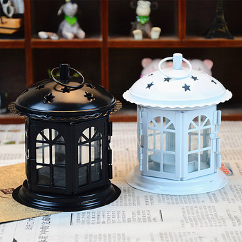 Stars cottage European iron candlestick hollow metal crafts ornaments Home Furnishing portable lantern